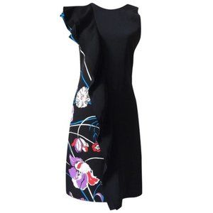 EMILIO PUCCI New 42 8 M Black Ruffle Trim Dress